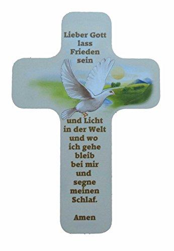 """Taufgeschenke - Kreuze: Taufkreuz für Kinder und Erwachsene zum Aufhängen. Motiv Taube und Spruch / Text """"Lieber Gott lass Frieden sein und Licht in der Welt und wo ich gehe bleib bei mir und segne meinen Schlaf. Amen"""" aus unserer Reihe Kinderkreuze und Geschenke zur Geburt, Taufe, Konfirmation, Kommunion, Firmung, Jugendweihe. (Mädchen Lila Windel-taschen)"""