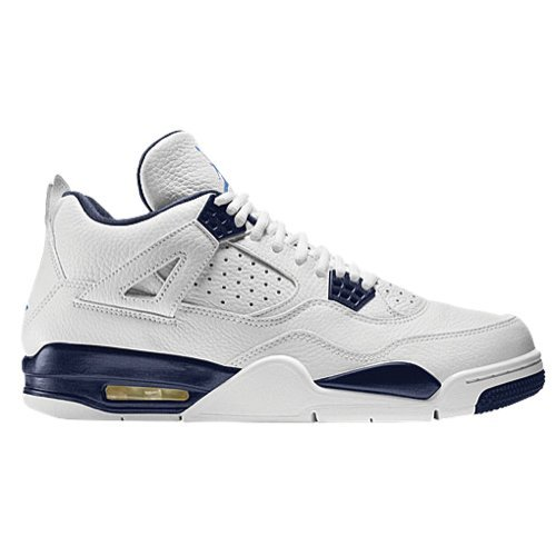 Nike Herren Air Jordan 4 Retro LS Basketballschuhe, Blanco/Azul (White/Legend Blue-Mdnght Navy), 40 1/2 EU (Shoes Jordan 4 Retro Columbia)