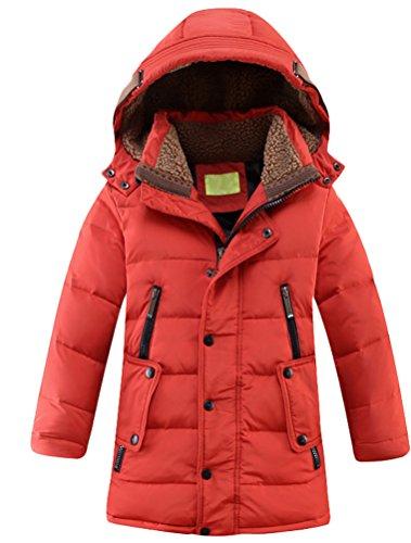 Vogstyle Jungen Winterjacke mit Kapuze Jacken Blouson Kinder Kapuzenparka Warm DaunenJacken Blouson Wintermantel Rot 12 Jahre/Körpergröße 150-160