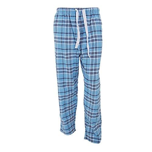 Cargo Bay Herren Flanell Pyjama / Lunge Hose kariert (L (91-96cm)) (Blau/Schwarz/Weiß) (Herren Flanell-pyjama Für)