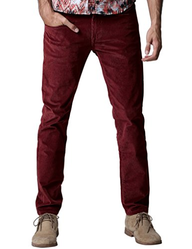Match Herren Slim-Tapered Flat-Front Casual Kord Hose #8052(8052 Claret rot,36)