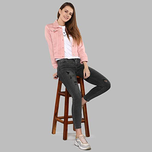 Shocknshop Basic 3/4th Sleeve Comfort Fit Regular Pink Denim Jacket for Women (JKT123)