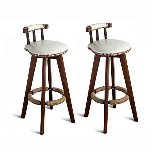"SANSHUI Drehbare Barhocker, Set 2 kreative Weinlese-Holz-Insel Dining Chair Café Rezeption Stuhl 29"" 1112 (Color : White)"