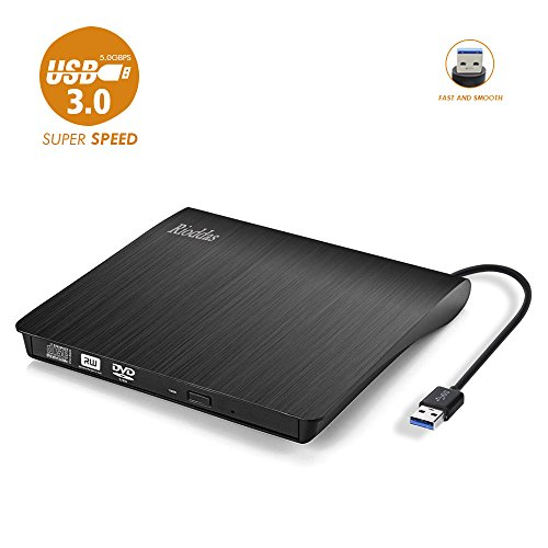 Rioddas Unità CD/DVD Esterna, USB 3.0 Portatile Unità CD/DVD +/- RW Slim Masterizzatore DVD/CD ROM Rewriter Burner compatibile con laptop PC desktop Windows Linux OS Apple M