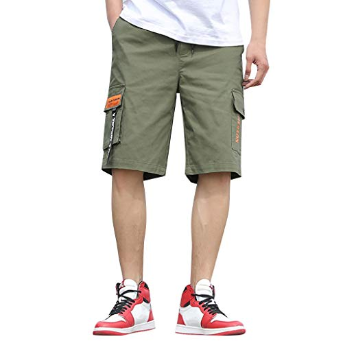 Chino Kurze Hose Sommer Bermuda Sport Jogging Training Stretch Fitness Vintage Regular Fit Sweatpants Baumwolle Qmber Camouflage Tooling Shorts Armee Grün Schwarz Khaki(AG,5XL) ()