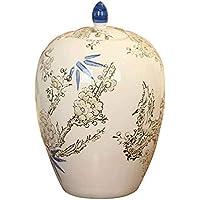 Tao-Miy Gran Cerámica Cremación Urnas - Ciruelo Blanco Pintado a Mano - Ataúd Que