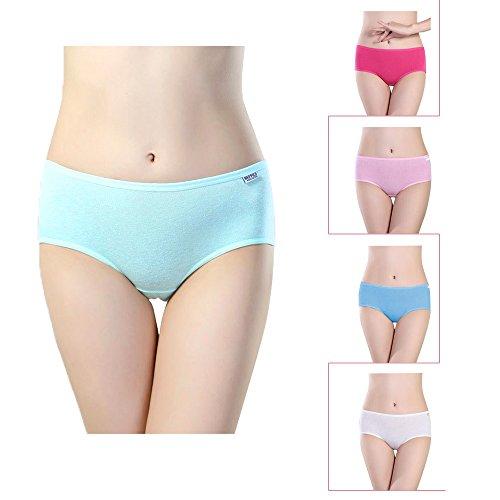 Damen Panties 5 er pack Low Schnitt Bikini Slips Weich Bikini Alltags Hüftslip Panty Unterhose (Full-cut-höschen)