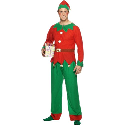 Smiffys Herren Kostüm Weihnachtself Zwerg Karneval Weihnachten -