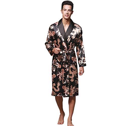WanYangg Albornoz Kimonos Pijama para Hombre Largo Camisón Robe Bata Ropa De Dormir Satín Bata De...