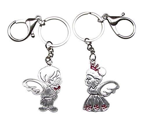 Générique 2 Porte-clés garçon et Fille Ailes d'ange + Coeur pour Couple, Acier.