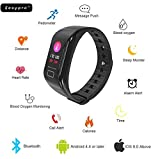 #7: Easypro™ GetFit-3.0 Smart Fitness Band Blood Pressure Oxygen Heart Rate Monitor Smart tracker Waterproof Bluetooth Smart Bracelet with GPS Fitness Tacker For IOS Android devices with Colour Display (Black)