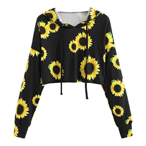(Spriteman Kurz Drucken Sweatshirt, Damen Lange Ärmel Sonnenblumen-Druck Ananas-Druck mit Kapuze Sweatshirt Bluse Tops Crop Hoodie Hooded Coat Mantel Tops(Schwarz,S))