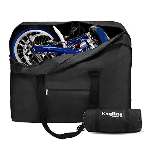 Exqline Fahrrad Transporttasche für 14-20 Zoll Faltrad, 1680D Oxford Klapprad Tasche Große Tragetasche Fahrrad Transport für Klapprad Drinnen und Draußen (Schwarz)