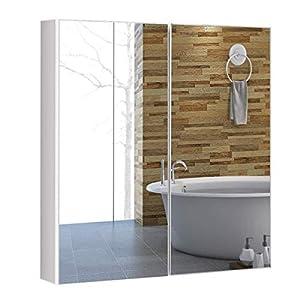 COSTWAY Spiegelschrank Bad, Wandschrank mit Spiegel, Badezimmerspiegelschrank weiß, Hängeschrank Holz, Badezimmerspiegel…