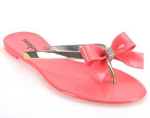 Unknown , Sandales pour femme - Jelly 3 Diamante Bow Sandal - Coral