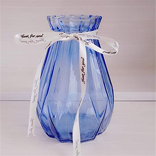 Root of all evil European Glass Vase Glass Colored Vase Flowers Home Office Arrangements,Royal Blue (Royal Vase Blue)