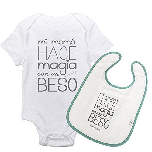 Pack Body y Babero Mi mamá hace magia con un beso. Regalo mama y reci