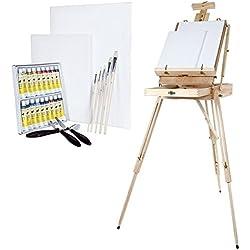 Artina - Set de Pintura de 30 Piezas Madrid XXL con Caballete maletín, Colores acrílicos, lienzos, Pinceles y Paleta