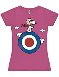Peanuts - Snoopy Pilot - Snoopy Target T-Shirt Damen - pink - Lizenziertes Originaldesign - LOGOSHIRT