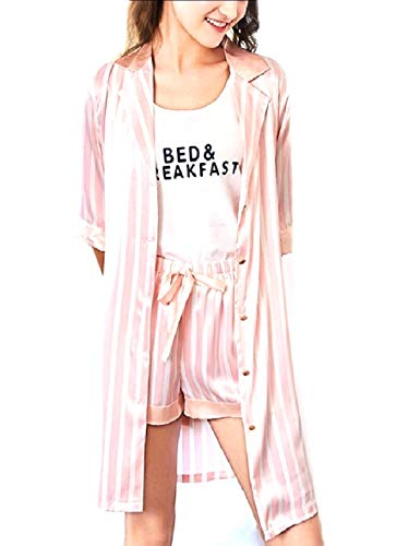CuteRose Womens Comfort Charmeuse Relaxed Linen Shorts PJ Sleepwear Set Pink M Charmeuse-print-shorts