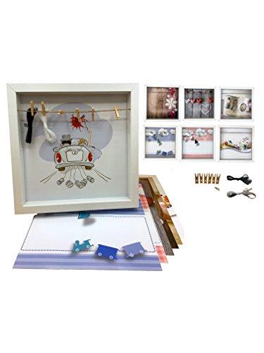 LucroTo 7 in 1-3D-Bilderrahmen 28x28x4,5[cm] mit Vielseitiger Verwendung, auswechselbare Motive - Geburtstag, Hochzeit, Geburt, Valentinstag, Weihnachten, Danksagung