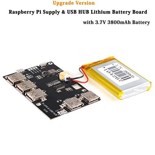 MakerHawk Raspberry Pi 5 Port USB 2.0 Hub Netzteil Modul mit 3800mAh Lithium Akku für Rpi 3 Pi 2 Modell B A + Pi Zero