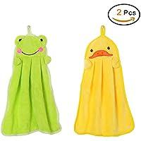 Lovely Nursery la toalla de mano suave felpa animal de la tela colgante de la historieta Limpie la toalla de baño Rana Verde Pato amarillo 2 piezas(37 * 31cm)
