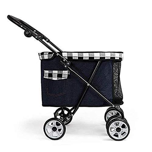 LMCWSTC Faltbarer Hundewagen Dog Haustierwagen, Hundewagen mit 4 Rädern und Aufbewahrungstasche, kompakt und tragbar mit langlebigen Rädern, for Reisen oder Übernachtungen (Color : Black)