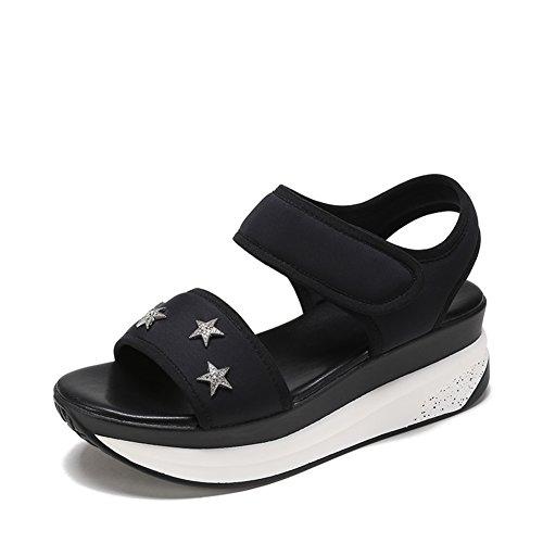 Dame Xia Gâteau épais Chaussures Talon Inférieur,Academy Wind Magic Autocollant Sandales A