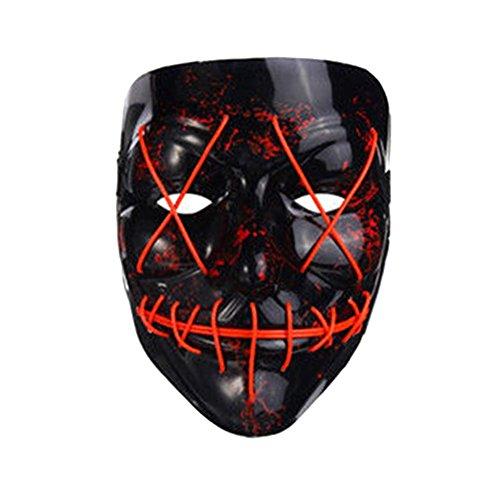 lzn leuchtet Maske led maske aus dem Purge Wahl Jahr Maske Fest Halloween Cosplay (Rote Halloween Maske)