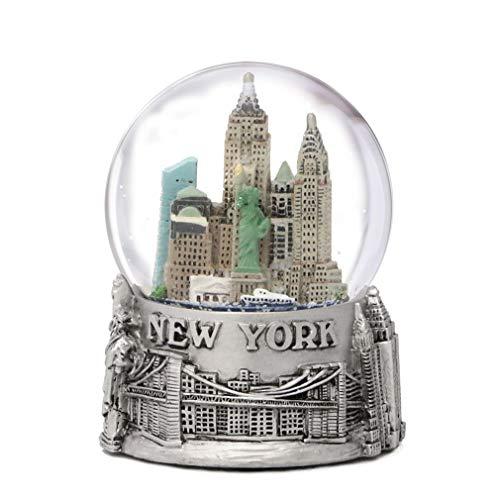 New York City silber gefüttert SNOW GLOBE 65mm NYC Souvenir Farbe Skyline Snow Globes 8,9cm -