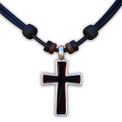 HANA LIMA ® Surferkette Halskette Lederkette Kreuz Kreuzanhänger Kruzifix Kreuzschmuck