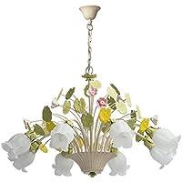 Lampadario da soffitto pendente fiore decorativo primaverile metallo dipinto in