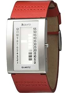 Rosato - Uranus Red R592 - Montre Homme - Quartz - Digitale - Bracelet Cuir Rouge