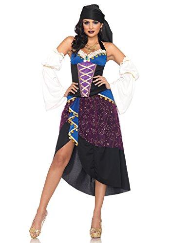 LEG AVENUE 83941 - Tarot Karten Zigeunerin Kostüm Set, Größe S, lila/blau