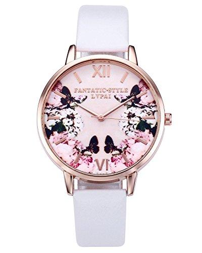 JSDDE Uhren,2er Set Modische Schmetterling Blumen Armbanduhr Basel-Stil Damen Uhr PU Lederband Rosegold Analog Quarzuhr - 6