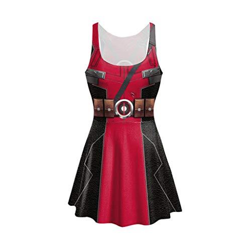 Henxizucun Damen Deadpool Avengers Overall Body Cosplay Kostüm Damen Sexy Overall Outfit Halloween Maskerade Geburtstag Party Kostüm Geschenk
