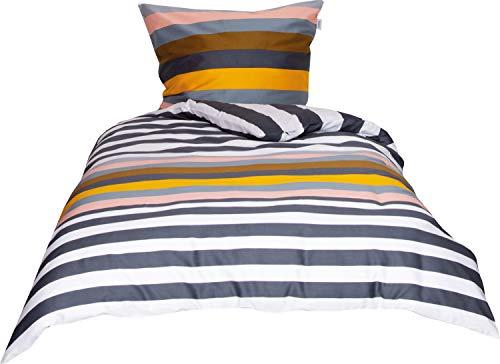 Schöner Wohnen Bettwäsche Focus Streifenbettwäsche rose-caramel Größe 135x200 cm