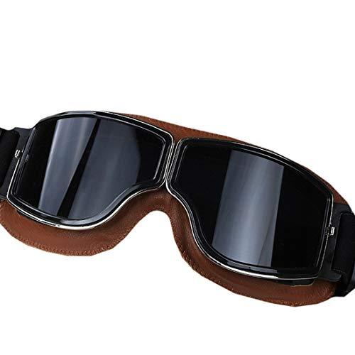 Lightpurple Retro Schutzbrillen der Motorradausrüstung im Freien polarisierten die Nacht, die Gläser für Frauenmänner Fahren (Color : Brown)