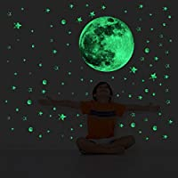 decalmile Glow in the Dark Stars and 37cm Moon Wall Decals Luminous Fluorescent Dots Stars Wall Stickers Starry Sky Baby Nursery Kids Bedroom Wall Décor
