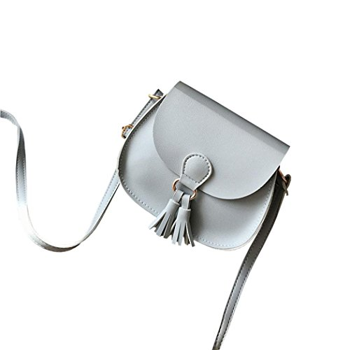 Hunpta Frauen Handtaschen Troddel Leder Kreuz Körper Schultertaschen Mädchen Messenger Bag Grau