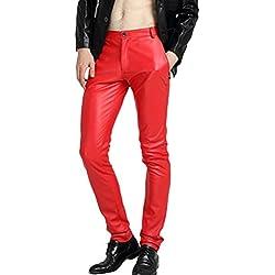 Zhhlinyuan hombres Cuero de PU Skinny Pantalones Slim Fit Velvet Motorcycle Trousers Tight Biker Pants para Spring Autumn