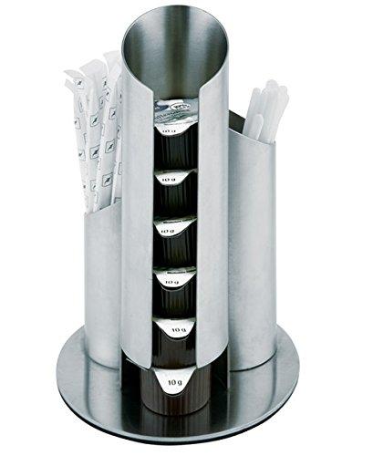 Portionsspender aus Edelstahl, matt poliert, für Milchportionen, Zuckertüten und Rührer, möbelschonende Unterseite / Ø 11 cm, Höhe: 17,5 cm   SUN