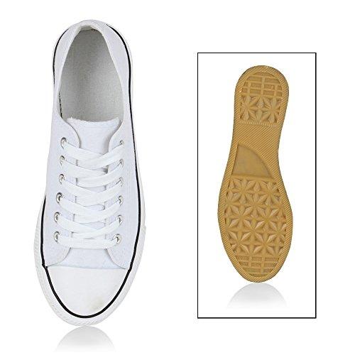 Damen Sneakers Gr Kult Sportschuhe 70862 Stoffschuhe Schnürer Gr Sneakers 3641 Weiß cb8dec