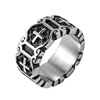 HZMAN Stainless Steel Cross Religious Oxidized Vintage Antique Ring for Women Men Unisex Silver