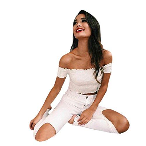 feiXIANG mode sommer oberteile schulter kurze ärmel bluse t -shirt Kurzärmeliges Top Bluse falten Damen hemd (L, Weiß) (Schule, Kleidung Falten-shorts)