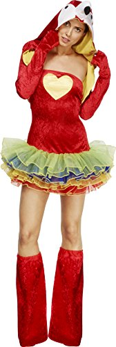 Fever, Damen Paradiesvogel-Papagei Kostüm, Tutukleid mit abnehmbaren Trägern, Jacke und Überstiefel, Größe: L, 55021