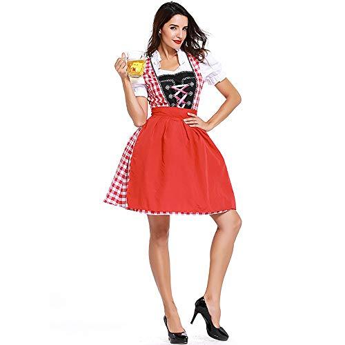Shishiboss Erwachsene Frauen Halloween-Kostüme, Oktoberfest Beer Girl Bar Kellnerin Kostüme Anzüge mit Rock/Schürze/Band, geeignet für Halloween-Partys und - Deutsche Bar Girl Kostüm