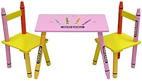 Bebe Style PCR1T2CS Bleistift/Crayon Themen Kindertischgruppe Sitzgruppe Tischgruppe bunt mit 1 Tisch und 2 Stühlen Holzbank, rosa
