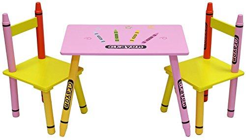 Preisvergleich Produktbild Bebe Style PCR1T2CS Bleistift/Crayon Themen Kindertischgruppe Sitzgruppe Tischgruppe bunt mit 1 Tisch und 2 Stühlen Holzbank, rosa